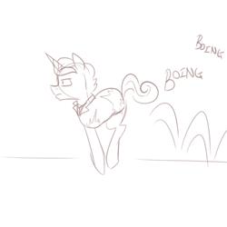 Size: 500x500 | Tagged: safe, artist:jitterbugjive, oc, oc:supremus longhorn, pony, unicorn, ask pun, amputee, ask, male, monochrome, solo, stallion
