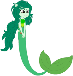 Size: 582x606 | Tagged: safe, artist:selenaede, artist:user15432, wallflower blush, mermaid, equestria girls, base used, clothes, fins, green tail, jewelry, mermaid tail, mermaidized, necklace, pearl necklace, ponied up, smiling, species swap, tail