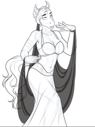 Size: 716x954 | Tagged: safe, artist:blackblood-queen, oc, oc only, oc:saanvi, anthro, saddle arabian, unguligrade anthro, anthro oc, armpits, belly dancer, belly dancer outfit, clothes, digital art, female, jewelry, mare, monochrome, short hair, simple background, smiling, solo, white background