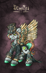 Size: 566x900 | Tagged: safe, artist:azimooth, oc, oc:demetri, pegasus, pony, artificial wings, augmented, clothes, male, mechanical wing, solo, stallion, steampunk, wings