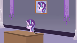 Size: 1366x768 | Tagged: safe, artist:forgalorga, screencap, starlight glimmer, alicorn, pony, 60s spider-man, alicornified, canterlot castle, desk, female, i can't believe it's not hasbro studios, meme, picture, princess starlight glimmer, race swap, self portrait, spider-man, stare, starlicorn, xk-class end-of-the-world scenario