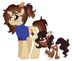 Size: 847x714 | Tagged: safe, artist:unoriginai, oc, oc only, oc:bedtime story, oc:pally, clothes, cute, family, female, filly, gender neutral, horn, simple background, small horn, story included, sweater, transparent background, turtleneck