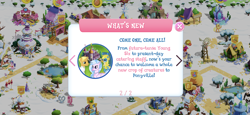 Size: 2436x1125 | Tagged: safe, applejack, cookie crumbles, fancypants, flim, gallus, gourmand ramsay, hondo flanks, lyra heartstrings, silverstream, snails, sweetie belle, griffon, hippogriff, the last problem, apple, apple tree, campfire, carousel boutique, friendship express, game screencap, gameloft, magic mirror, older, older gallus, older silverstream, pond, royal guard gallus, snow, statue, super speedy cider squeezy 6000, tent, train, tree, windmill