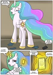 Size: 905x1280 | Tagged: safe, artist:rex-equinox, princess celestia, human, comic:royal makeover, brainwashing, cellphone, clothes, commission, hoof shoes, human to pony, male to female, mind control, phone, rule 63, sequence, torn clothes, transformation, transformation sequence, transgender transformation