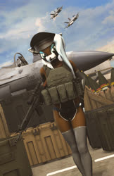 Size: 1080x1664 | Tagged: safe, artist:sfm deer animations, oc, oc:ryiah, deer, anthro, 3d, battle rifle, body armor, clothes, crate, female, fighter plane, g3a3, gun, hat, military, peaked cap, plate carrier, rifle, socks, solo, source filmmaker, thigh highs, weapon