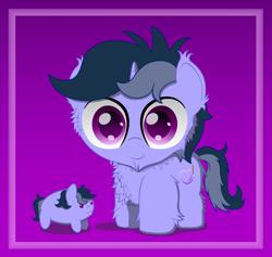 Size: 2500x2368   Tagged: safe, artist:spellboundcanvas, oc, oc only, oc:purple flix, pony, unicorn, :3, chest fluff, fluffy, solo, unicorn oc