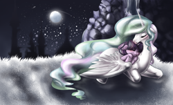 Size: 1304x794 | Tagged: safe, artist:dollfins, princess celestia, twilight sparkle, alicorn, pony, unicorn, duo, female, filly, filly twilight sparkle, full moon, mare, momlestia, moon, night, stars, unicorn twilight, younger