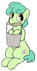 Size: 311x594 | Tagged: safe, artist:heretichesh, oc, oc only, oc:parsley pail, earth pony, pony, bucket, colt, male, simple background, solo, white background