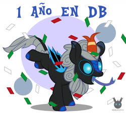 Size: 1435x1287 | Tagged: safe, artist:wheatley r.h., derpibooru exclusive, oc, oc only, oc:w. rhinestone eyes, kirin, bat wings, celebration, confetti, happy, long tongue, shadow, simple background, solo, spanish, spanish text, tongue out, vector, watermark, wings