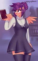 Size: 2550x4000 | Tagged: safe, artist:xjenn9, scootaloo, anthro, alternate hairstyle, clothes, dress, wings
