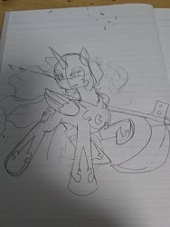 Size: 1080x1440 | Tagged: safe, artist:omegapony16, nightmare moon, alicorn, pony, female, gritted teeth, helmet, hoof shoes, irl, lineart, lined paper, mare, peytral, photo, raised hoof, scythe, traditional art