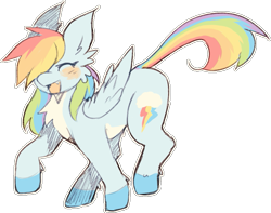 Size: 703x555   Tagged: safe, artist:tigr, rainbow dash, pegasus, pony, blushing, chest fluff, colored hooves, cute, cute little fangs, dashabetes, ear fluff, eyes closed, fangs, female, leg fluff, mare, open mouth, pale belly, simple background, solo, transparent background