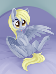 Size: 1035x1362 | Tagged: safe, artist:dusthiel, derpy hooves, pegasus, pony, :p, adorkable, belly button, cheek fluff, chest fluff, cute, derpabetes, dock, dork, ear fluff, featureless crotch, female, frog (hoof), hooves to the chest, mare, on back, solo, spread legs, spread wings, spreading, tongue out, underhoof, wings, yellow eyes