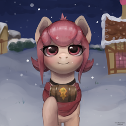Size: 3000x3000 | Tagged: safe, artist:richie, oc, oc only, oc:hopple scotch, earth pony, pony, barrel, clothes, collar, eye clipping through hair, female, house, looking at you, mare, night, scarf, smiling, snow, snowfall, solo, ych result