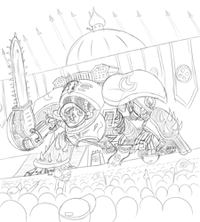 Size: 900x1000 | Tagged: safe, oc, oc:anon, oc:nyx, alicorn, 4chan, banner, chainsaw, futurama, reference, tv reference, warhammer (game), warhammer 40k