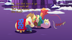 Size: 2160x1230 | Tagged: safe, anonymous artist, apple bloom, applejack, big macintosh, fluttershy, pony, series:fm holidays, adorabloom, belly riding, blanket, boots, clinging, clothes, cute, dialogue, earmuffs, eeyup, eyes closed, female, fluttermac, hat, hoof gloves, jacket, leg lock, lineless, male, misleading thumbnail, night, no pupils, ponies riding ponies, riding, shared clothing, shared sweater, shipping, shoes, sleeping, snow, straight, sweater, upside down, walking