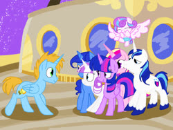 Size: 1024x768 | Tagged: safe, artist:andromedasparkz, night light, princess cadance, princess flurry heart, shining armor, twilight sparkle, twilight velvet, oc, oc:harmony star, alicorn, once upon a zeppelin, airship, alicorn oc, sparkle family, twilight sparkle (alicorn)