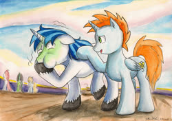 Size: 1024x720   Tagged: safe, artist:souleatersaku90, shining armor, oc, oc:harmony star, alicorn, once upon a zeppelin, airsick, airsick armor, alicorn oc, duo focus, puffy cheeks, traditional art