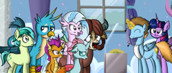 Size: 3759x1595   Tagged: safe, artist:zsparkonequus, gallus, ocellus, sandbar, silverstream, smolder, twilight sparkle, yona, oc, oc:harmony star, alicorn, changedling, changeling, classical hippogriff, dragon, earth pony, griffon, hippogriff, pony, yak, alicorn oc, apron, cafeteria, clothes, glowing horn, horn, music notes, student six, twilight sparkle (alicorn)