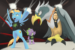 Size: 3000x2000 | Tagged: safe, artist:madgehog, spike, oc, oc:harmony star, alicorn, bird, dragon, pegasus, pony, roc, molt down, alicorn oc, bipedal, bipedal leaning, leaning, pro wrestling, sports, winged spike, wings, wrestlemania, wrestling, wrestling ring