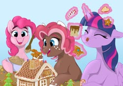 Size: 1280x889 | Tagged: safe, artist:rutkotka, pinkie pie, twilight sparkle, oc, oc:ginger bread, alicorn, earth pony, pony, batter, candy, candy cane, cookie, eating, food, gingerbread house, tongue out, twilight sparkle (alicorn)