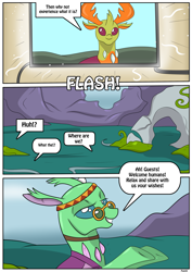 Size: 2893x4092 | Tagged: safe, artist:ltcolonelwhipper, artist:rex-equinox, free love (changedling), thorax, changedling, changeling, comic:sharing your wishes!, changeling hive, comic, commission, dialogue, female, fourth wall destruction, high res, implied human, king thorax, magic, male, offscreen character, onomatopoeia, smiling, sound effects, speech bubble, story included, talking to viewer, television
