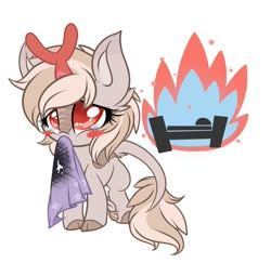 Size: 1024x996 | Tagged: safe, artist:starlightlore, oc, oc only, oc:emberwhirl, kirin, bed, blanket, blush sticker, blushing, burned, burning, cute, fire, hnnng, kirin oc, mouth hold, oops, simple background, teary eyes, towel, white background