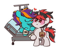 Size: 2560x2048 | Tagged: safe, artist:sugar morning, oc, oc only, pony, unicorn, :<, bag, bandage, bandaged leg, bed, blushing, chibi, colored, commission, cute, eyes closed, female, heart, hospital, kissing, lying down, male, mare, ocbetes, prone, red eyes, simple background, stallion, standing, straight, transparent background