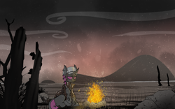 Size: 1920x1200   Tagged: safe, artist:brainiac, oc, oc only, oc:chicken scratch, changeling, fallout equestria, campfire, commission, purple changeling, solo, wasteland