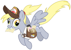 Size: 2844x2013 | Tagged: safe, artist:sketchmcreations, derpy hooves, pegasus, pony, the last problem, spoiler:s09e26, bag, bags under eyes, cute, derpabetes, female, flying, happy, hat, letter, mail, mailmare, mare, mouth hold, older, older derpy hooves, ponytail, saddle bag, simple background, smiling, spread wings, transparent background, vector, wings