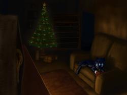 Size: 6250x4688 | Tagged: safe, artist:piiec, oc, oc:night's gale, bat pony, book, bookcase, bookshelf, carpet, christmas, christmas lights, christmas night, christmas tree, couch, hearth's warming, hearth's warming eve, hearth's warming night, holiday, night, tree