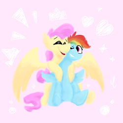 Size: 2000x2000 | Tagged: safe, artist:antimationyt, fluttershy, rainbow dash, pegasus, pony, abstract background, cute, female, flutterdash, hug, hug from behind, lesbian, mare, shipping, shipping fuel, sitting, smiling, spread wings, wings