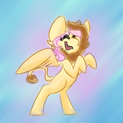 Size: 1000x1000 | Tagged: safe, artist:antimationyt, fluttershy, pegasus, pony, abstract background, animal costume, clothes, costume, eyes closed, female, leonine tail, mare, missing cutie mark, open mouth, rearing, solo, spread wings, three quarter view, wings