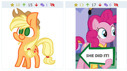 Size: 1334x750 | Tagged: safe, applejack, pinkie pie, earth pony, pony, derpibooru, spice up your life, arrow, chibi, chubby, clothes, cowboy hat, female, freckles, hat, holding a sign, juxtaposition, looking at something, meme, meta, sign, simple background, straw in mouth, text, wat, white background