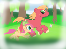 Size: 1024x768 | Tagged: dead source, safe, artist:biosonic100, big macintosh, oc, oc:spring leaf, butterfly, earth pony, pegasus, pony, father and child, father and daughter, female, filly, freckles, male, offspring, parent:big macintosh, parent:fluttershy, parents:fluttermac, running, stallion, tree