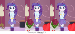 Size: 7374x3343 | Tagged: safe, artist:tabrony23, rarity, equestria girls, boots, bouquet of flowers, chocolate, clothes, comic, cute, female, food, heart, holiday, looking at you, shoes, smiling, solo, surprised, valentine's day