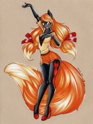 Size: 3350x4441 | Tagged: safe, artist:divinekitten, oc, oc only, oc:serenity fox, anthro, fox, fox pony, hybrid, anthro oc, clothes, female, high heels, high res, mare, shirt, shoes, shorts, solo, traditional art
