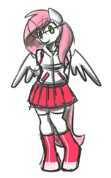 Size: 339x541 | Tagged: safe, artist:sugar morning, oc, oc only, oc:sugar morning, anthro, pegasus, unguligrade anthro, clothes, female, hands behind back, hoodie, hoof boots, pleated skirt, simple background, sketch, skirt, solo, stockings, thigh highs, white background