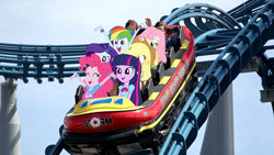 Size: 650x366 | Tagged: safe, derpibooru exclusive, applejack, fluttershy, pinkie pie, rainbow dash, rarity, twilight sparkle, equestria girls, australia, equestria girls in real life, excited, gold coast, humane five, humane six, open mouth, roller coaster, sea world