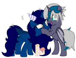 Size: 1621x1235   Tagged: safe, artist:celestial-rue0w0, artist:klewgcg, oc, oc only, oc:elizabat stormfeather, oc:midnight, alicorn, bat pony, bat pony alicorn, pony, alicorn oc, base used, bat pony oc, bipedal, birthday, birthday gift, commission, confetti, cute, cutie, female, hat, mare, open mouth, party hat, present, show accurate, simple background, squishy cheeks, transparent background