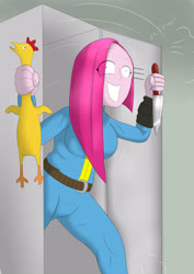 Size: 2894x4093 | Tagged: safe, artist:wolfjarl, pinkie pie, human, equestria girls, clothes, crazy face, faic, fallout girls, grin, here's pinkie, knife, pinkamena diane pie, pipboy, rubber chicken, smiling, vault suit
