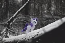 Size: 5100x3400 | Tagged: safe, artist:plastikdarling, rarity, pony, unicorn, irl, photo, plushie, snow, solo, winter