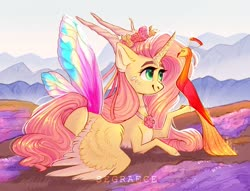 Size: 1280x978 | Tagged: safe, artist:segraece, fluttershy, philomena, alicorn, phoenix, pony, alicornified, artificial wings, augmented, butterfly wings, color porn, colored wings, eyebrows, female, fire, floral head wreath, flower, fluttercorn, holding, horns, looking at something, magic, magic wings, mare, mother nature, outdoors, prone, race swap, raised hoof, ribbon, smiling, solo, spread wings, wings