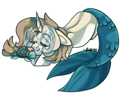 Size: 704x546 | Tagged: safe, artist:bubble-trouble-owo, oc, oc:bubbles, merpony, turtle, female, glasses, simple background, sleeping, solo, transparent background
