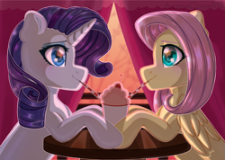 Size: 1841x1311 | Tagged: safe, artist:auroracursed, fluttershy, rarity, pegasus, pony, unicorn, cafe, cute, female, flarity, hearts and hooves day, lesbian, mare, sharing a drink, shipping, smiley face, sunset