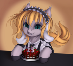 Size: 1613x1458 | Tagged: safe, artist:batsdisaster, earth pony, pony, birthday, cake, clothes, dress, fangs, female, food, looking at you, maid, mare, ponified, smiling, solo