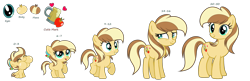 Size: 9299x3024 | Tagged: safe, artist:galaxyswirlsyt, oc, oc only, oc:apple pie, pony, 5-year-old, absurd resolution, age progression, baby, baby pony, base used, female, filly, freckles, mare, offspring, parent:applejack, parent:caramel, parents:carajack, puffy cheeks, scrunchy face, simple background, solo, teenager, transparent background