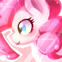 Size: 1000x1000 | Tagged: safe, artist:dddreamdraw, pinkie pie, pony, bust, cute, diapinkes, female, mare, pink background, portrait, profile, simple background, solo