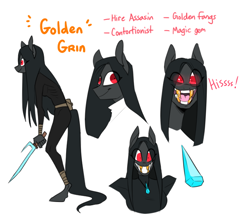 Size: 704x615 | Tagged: safe, artist:redxbacon, oc, oc only, oc:golden grin, anthro, creepy, female, gold tooth, golden tooth, reference sheet