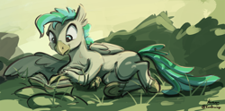Size: 2304x1143 | Tagged: safe, artist:kam, terramar, classical hippogriff, hippogriff, book, male, reading, solo